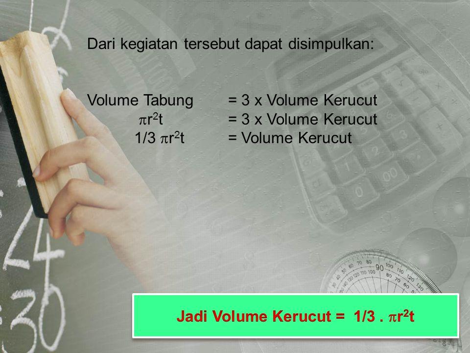 Jadi Volume Kerucut = 1/3 . r2t