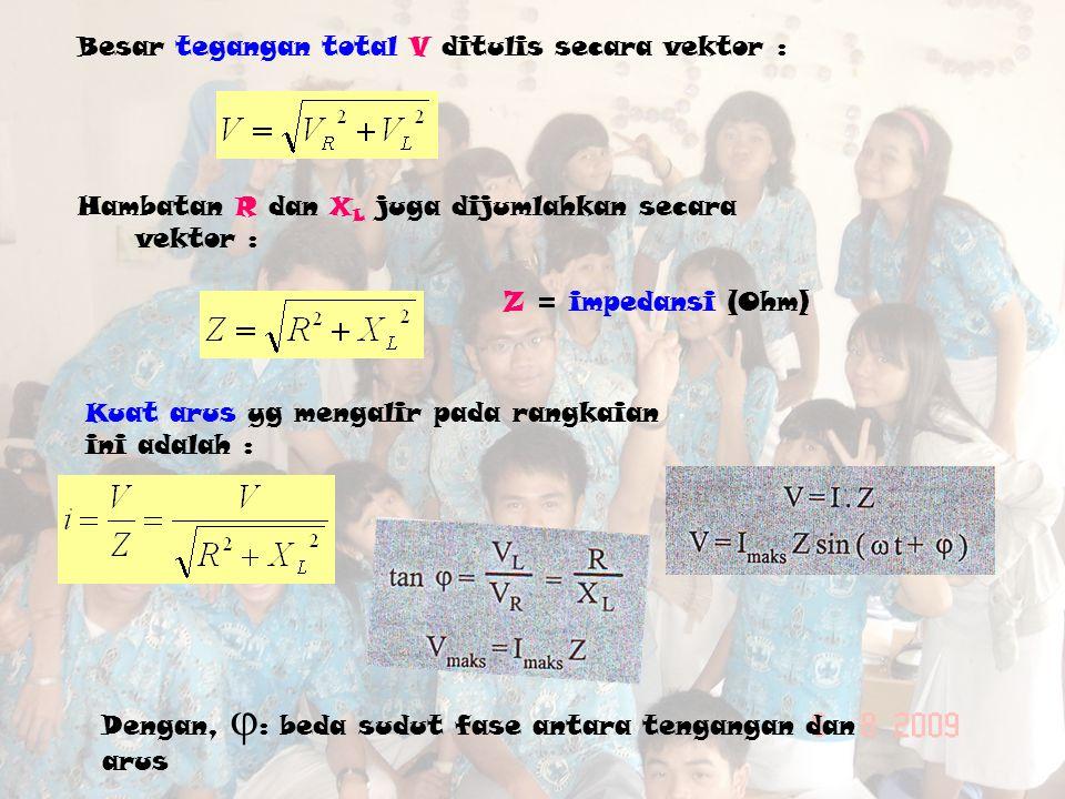 Besar tegangan total V ditulis secara vektor :