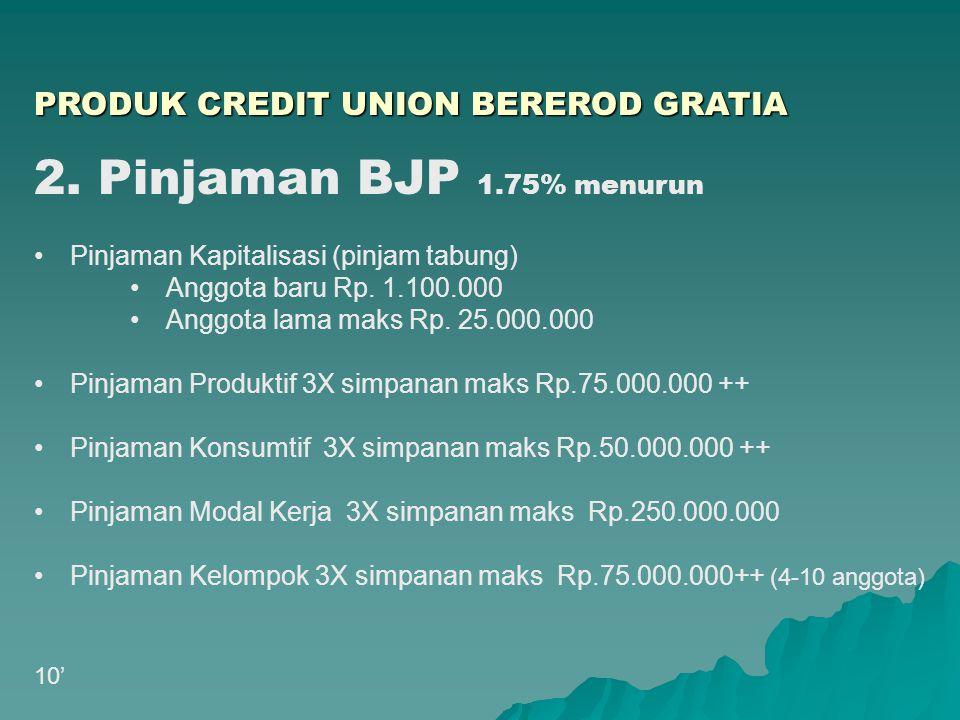 2. Pinjaman BJP 1.75% menurun PRODUK CREDIT UNION BEREROD GRATIA