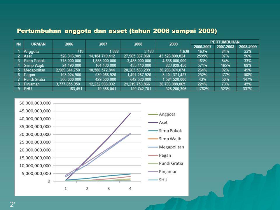 2' Pertumbuhan anggota dan asset (tahun 2006 sampai 2009) No URAIAN