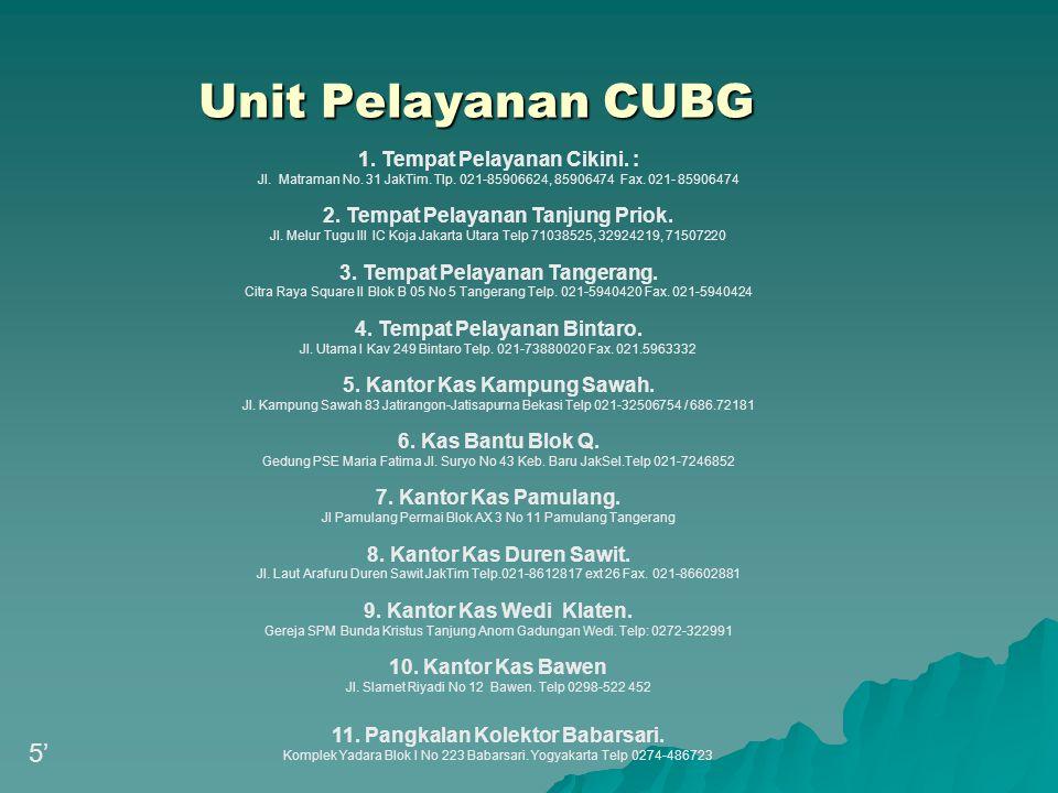 Unit Pelayanan CUBG 5' 1. Tempat Pelayanan Cikini. :