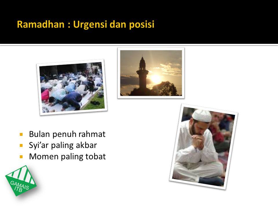 Ramadhan : Urgensi dan posisi
