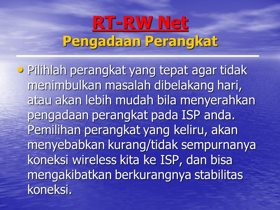 RT-RW Net Pengadaan Perangkat