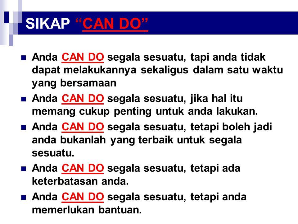 SIKAP CAN DO Anda CAN DO segala sesuatu, tapi anda tidak dapat melakukannya sekaligus dalam satu waktu yang bersamaan.