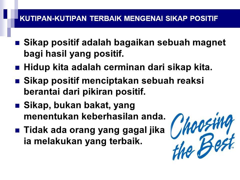Sikap positif adalah bagaikan sebuah magnet bagi hasil yang positif.