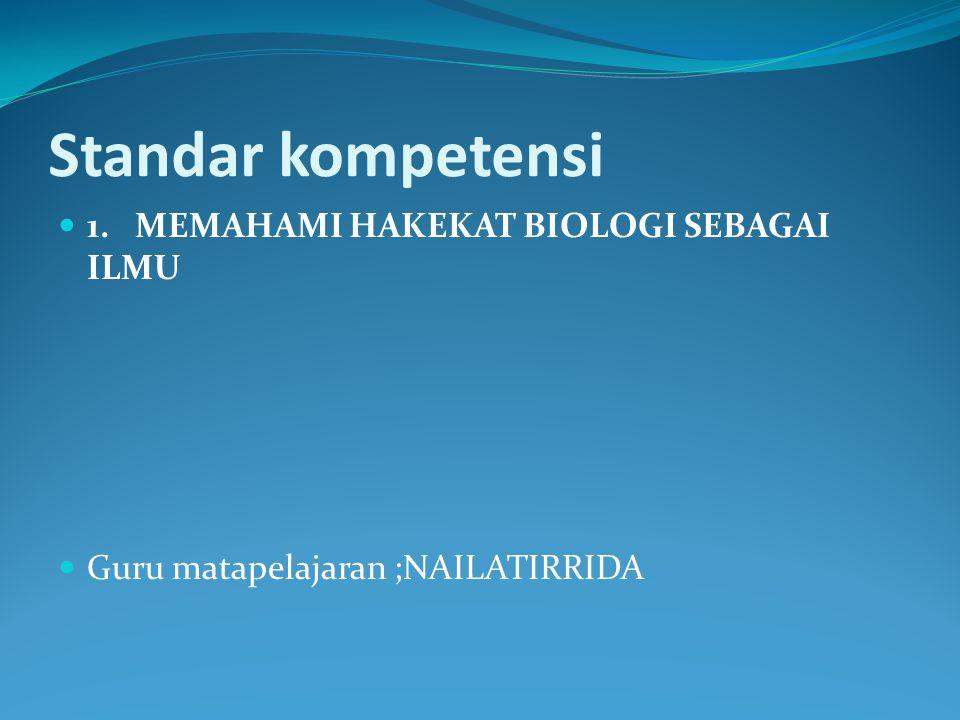 Standar kompetensi 1. MEMAHAMI HAKEKAT BIOLOGI SEBAGAI ILMU