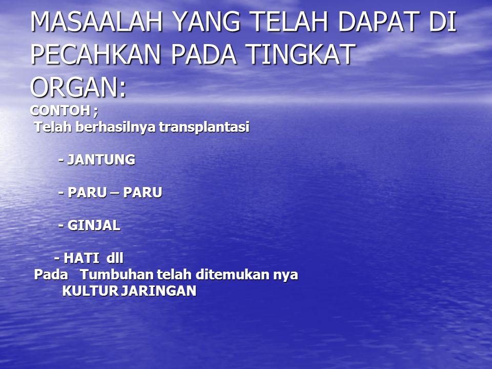 MASAALAH YANG TELAH DAPAT DI PECAHKAN PADA TINGKAT ORGAN: