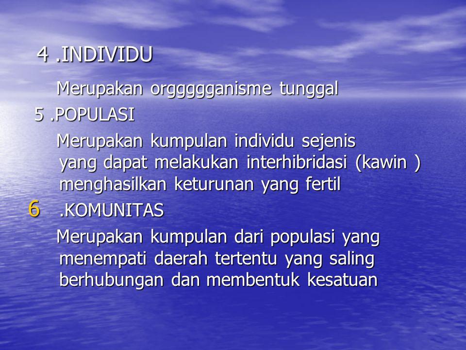 4 .INDIVIDU Merupakan orggggganisme tunggal 5 .POPULASI