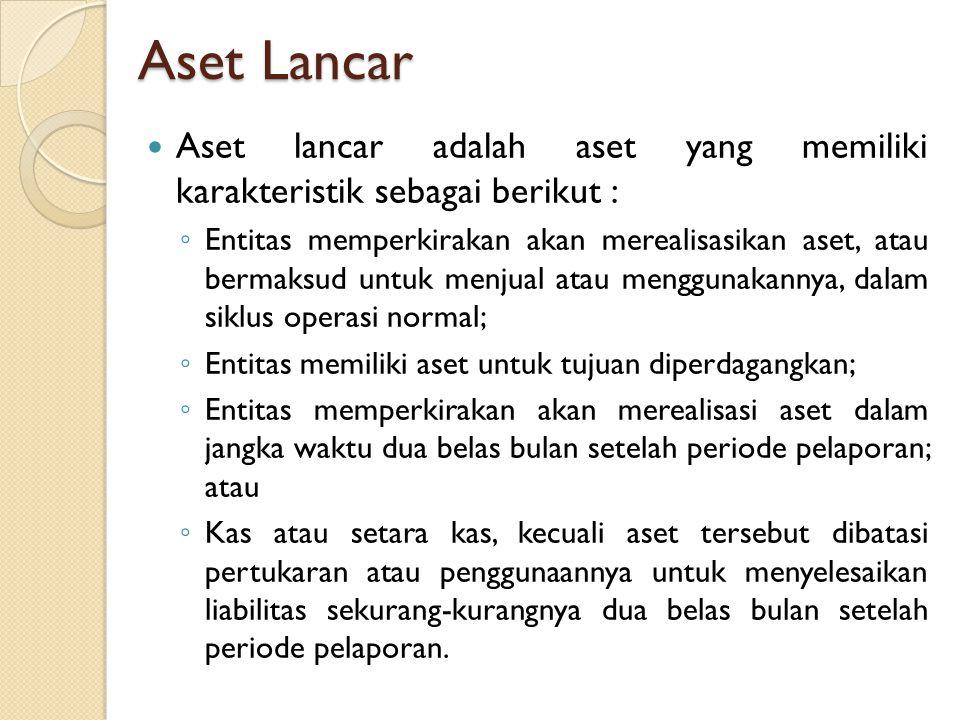 Aset Lancar Aset lancar adalah aset yang memiliki karakteristik sebagai berikut :