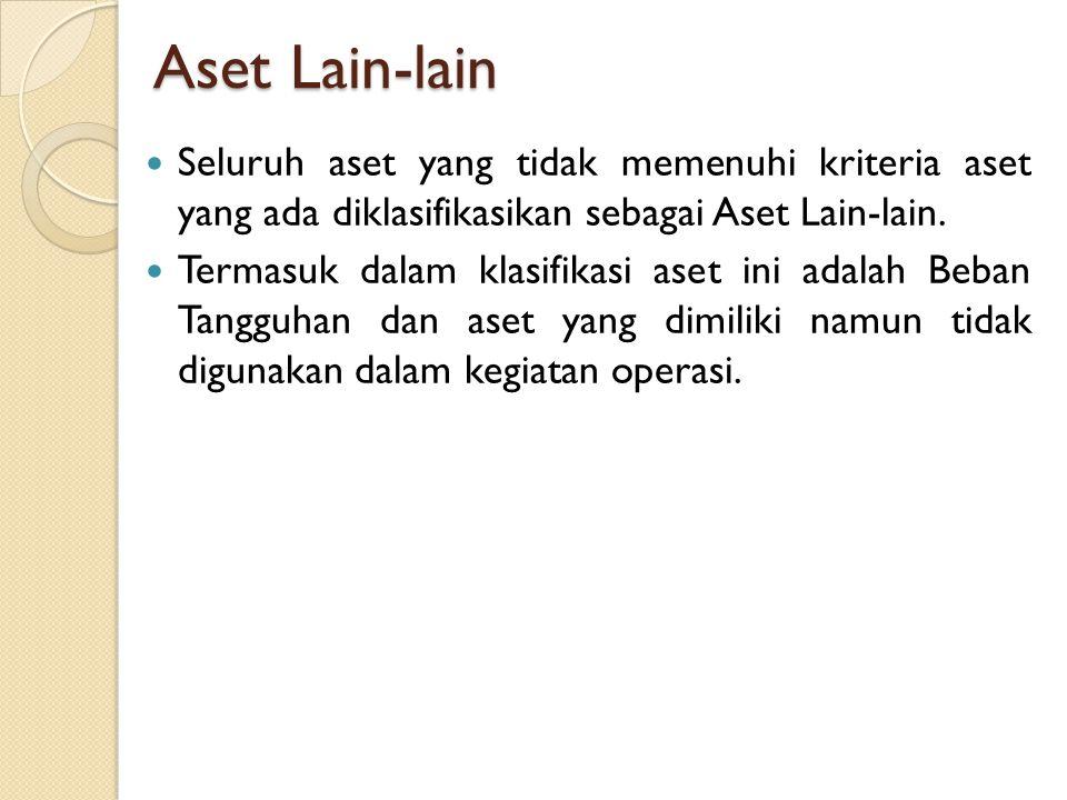 Aset Lain-lain Seluruh aset yang tidak memenuhi kriteria aset yang ada diklasifikasikan sebagai Aset Lain-lain.