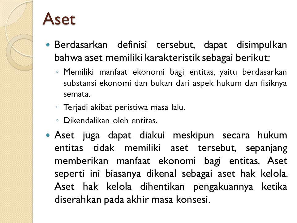 Aset Berdasarkan definisi tersebut, dapat disimpulkan bahwa aset memiliki karakteristik sebagai berikut: