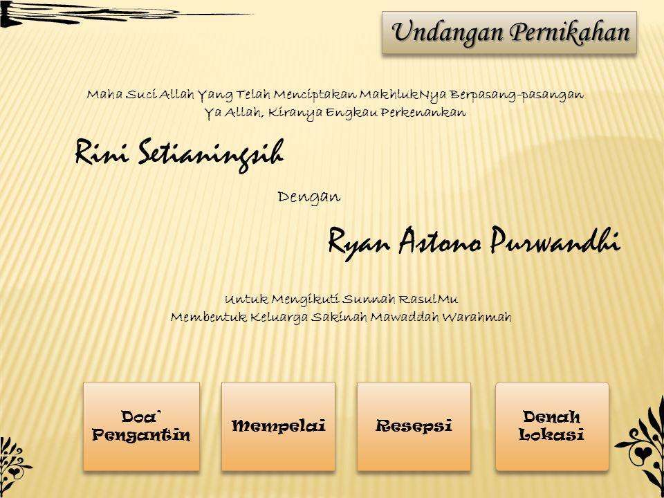 Rini Setianingsih Ryan Astono Purwandhi Undangan Pernikahan Dengan