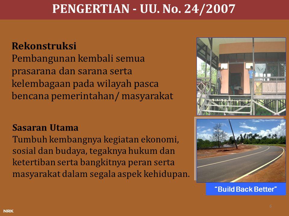 PENGERTIAN - UU. No. 24/2007 Rekonstruksi Pembangunan kembali semua