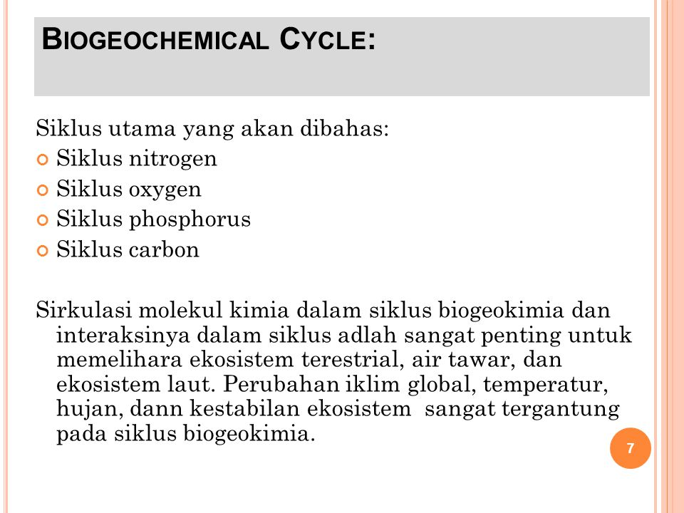 Biogeochemical Cycle: