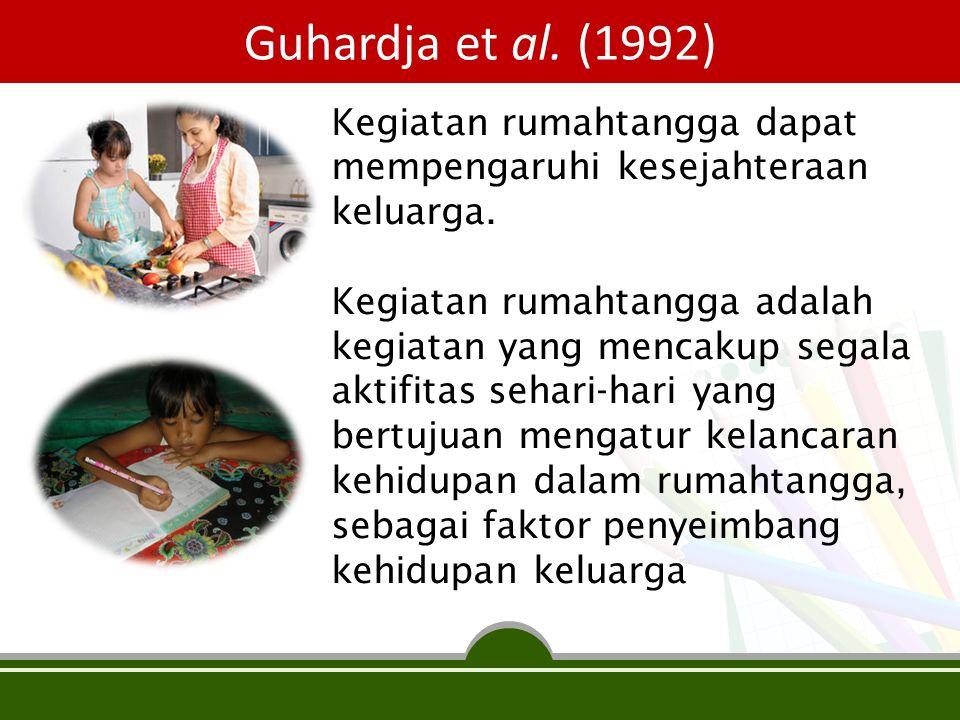 Guhardja et al. (1992) Kegiatan rumahtangga dapat mempengaruhi kesejahteraan keluarga.