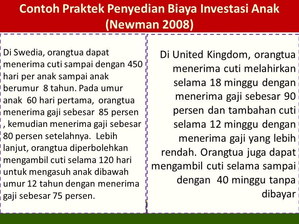 Contoh Praktek Penyedian Biaya Investasi Anak (Newman 2008)