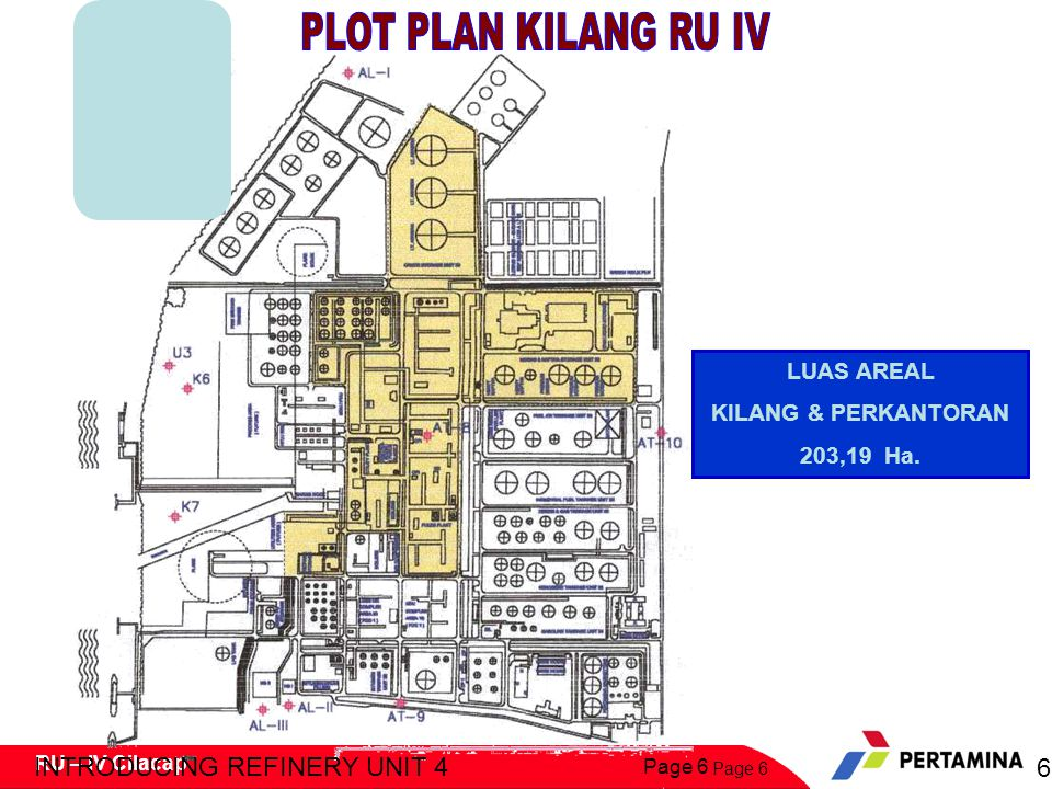 PLOT PLAN KILANG RU IV INTRODUCING REFINERY UNIT 4 6 LUAS AREAL