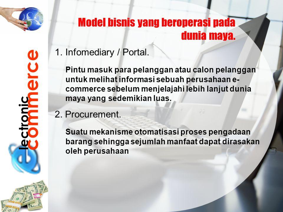 commerce lectronic Model bisnis yang beroperasi pada dunia maya.