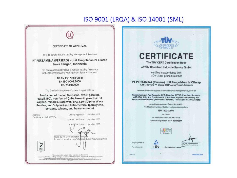 ISO 9001 (LRQA) & ISO 14001 (SML)