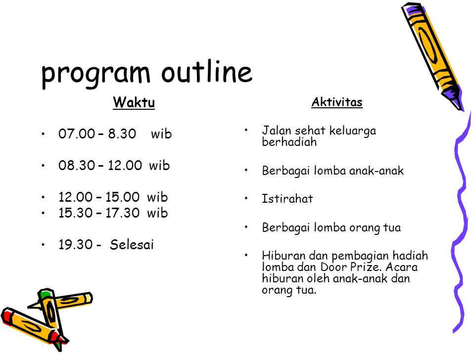 program outline Waktu 07.00 – 8.30 wib 08.30 – 12.00 wib