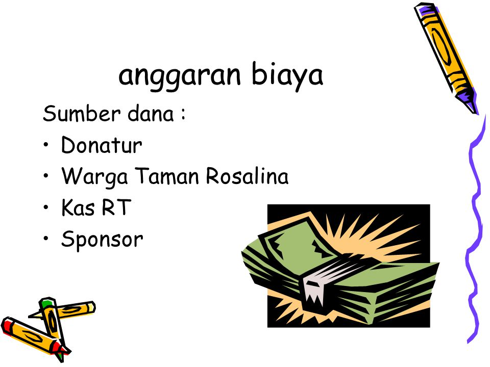 anggaran biaya Sumber dana : Donatur Warga Taman Rosalina Kas RT