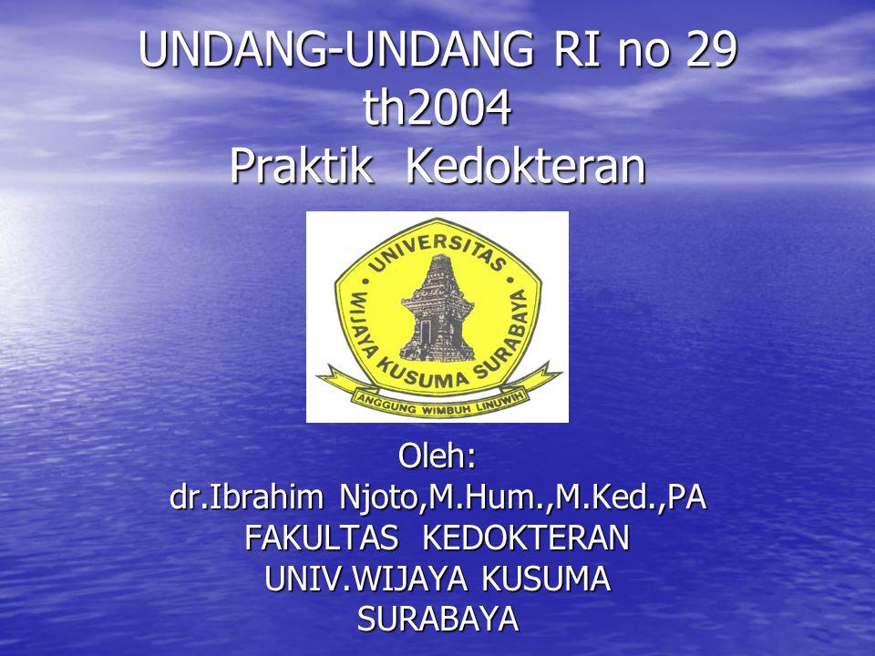 UNDANG-UNDANG RI no 29 th2004 Praktik Kedokteran