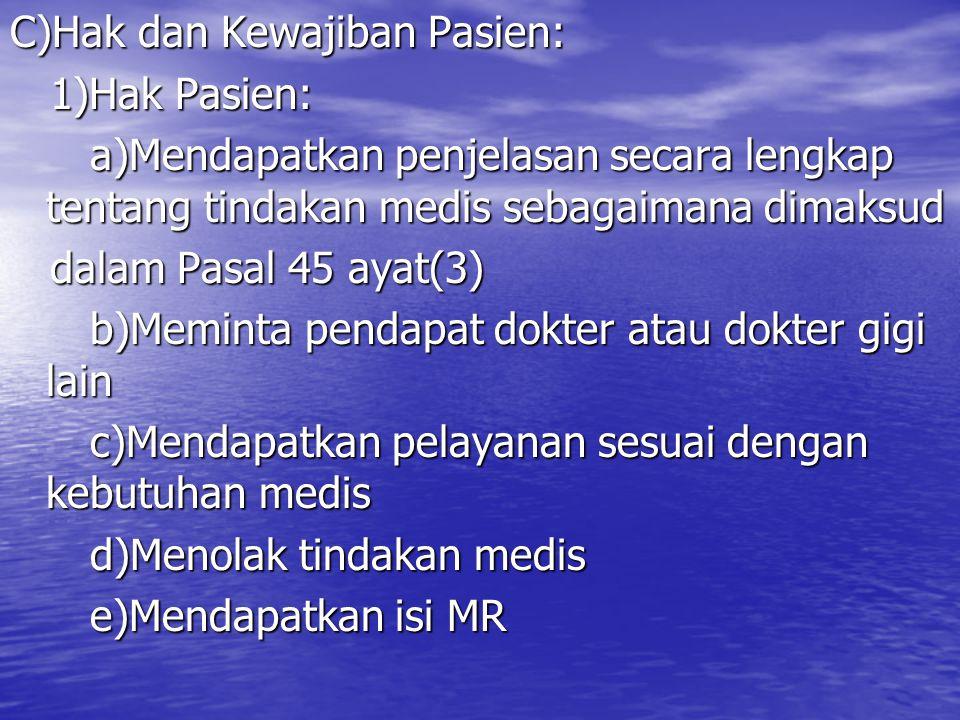 C)Hak dan Kewajiban Pasien: