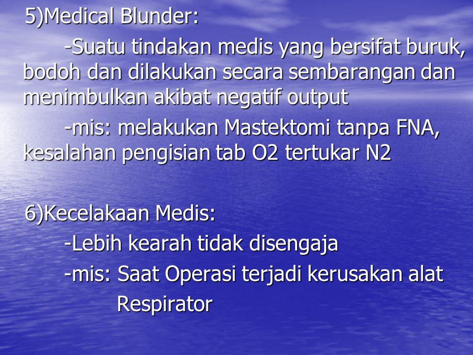 5)Medical Blunder: -Suatu tindakan medis yang bersifat buruk, bodoh dan dilakukan secara sembarangan dan menimbulkan akibat negatif output.