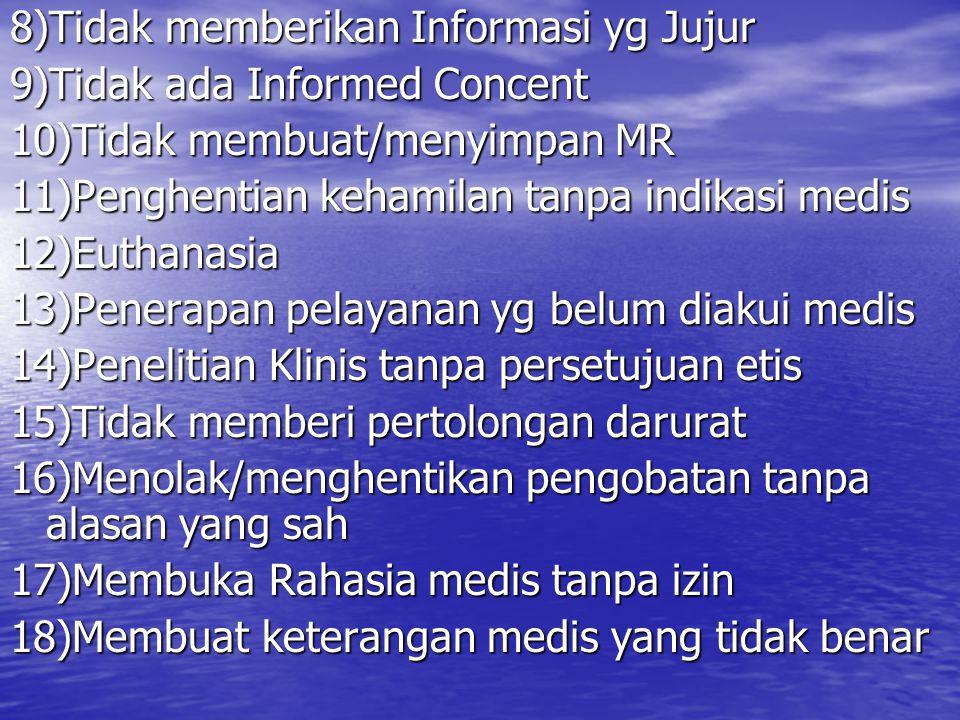 8)Tidak memberikan Informasi yg Jujur