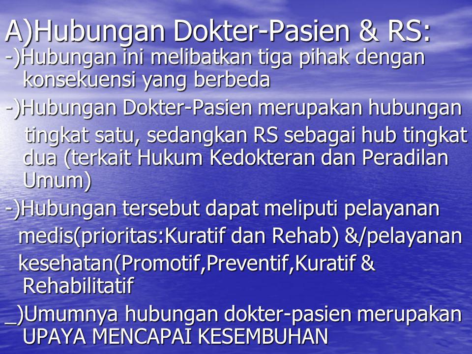 A)Hubungan Dokter-Pasien & RS:
