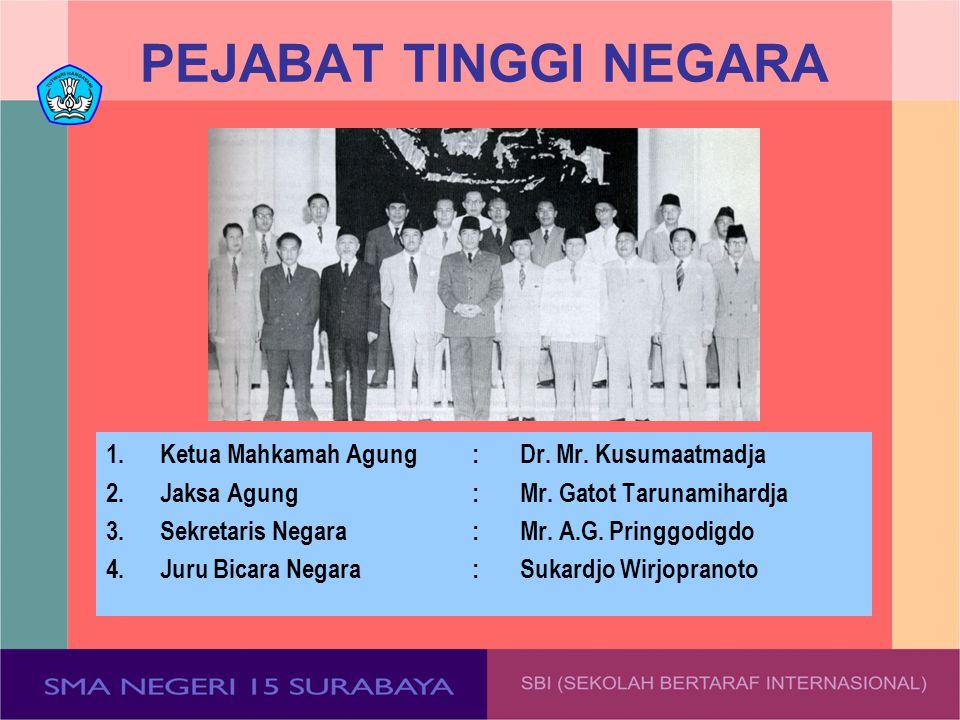 PEJABAT TINGGI NEGARA 1. Ketua Mahkamah Agung : Dr. Mr. Kusumaatmadja