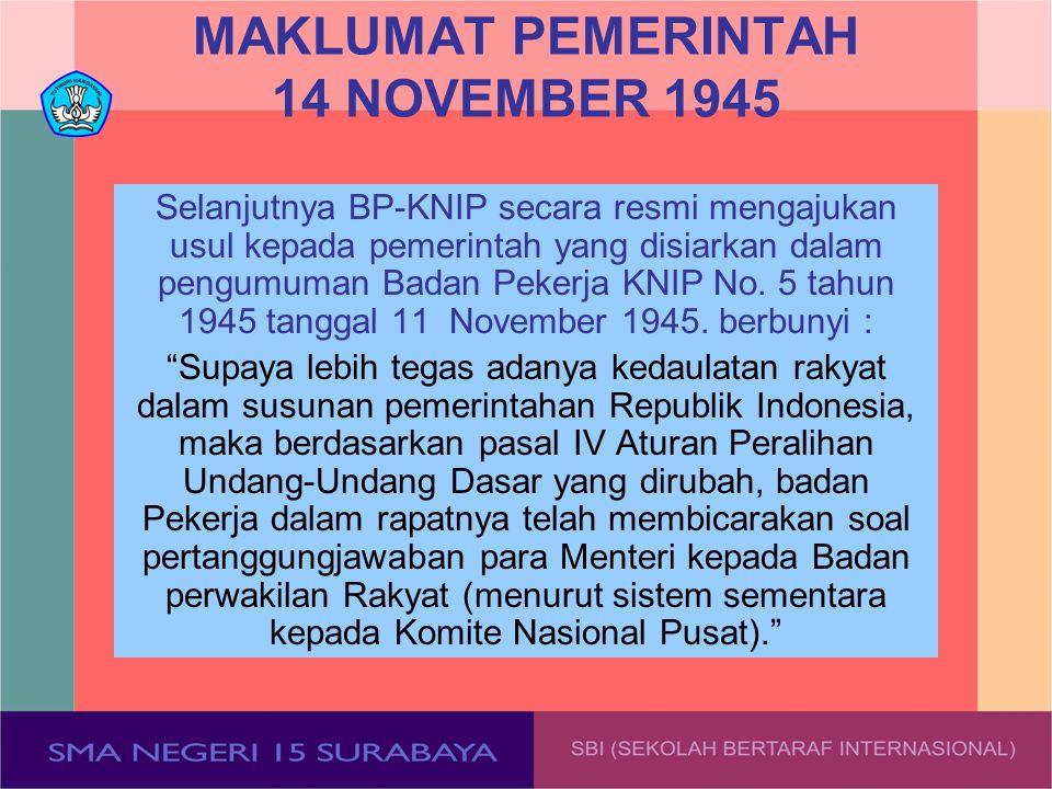 MAKLUMAT PEMERINTAH 14 NOVEMBER 1945