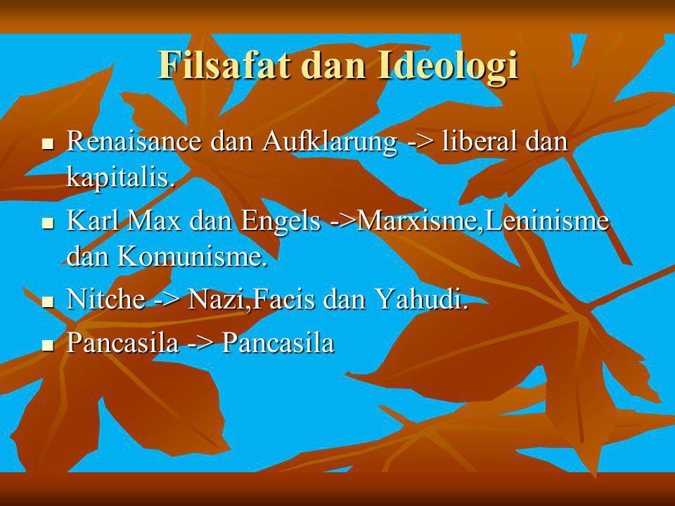 Filsafat dan Ideologi Renaisance dan Aufklarung -> liberal dan kapitalis. Karl Max dan Engels ->Marxisme,Leninisme dan Komunisme.