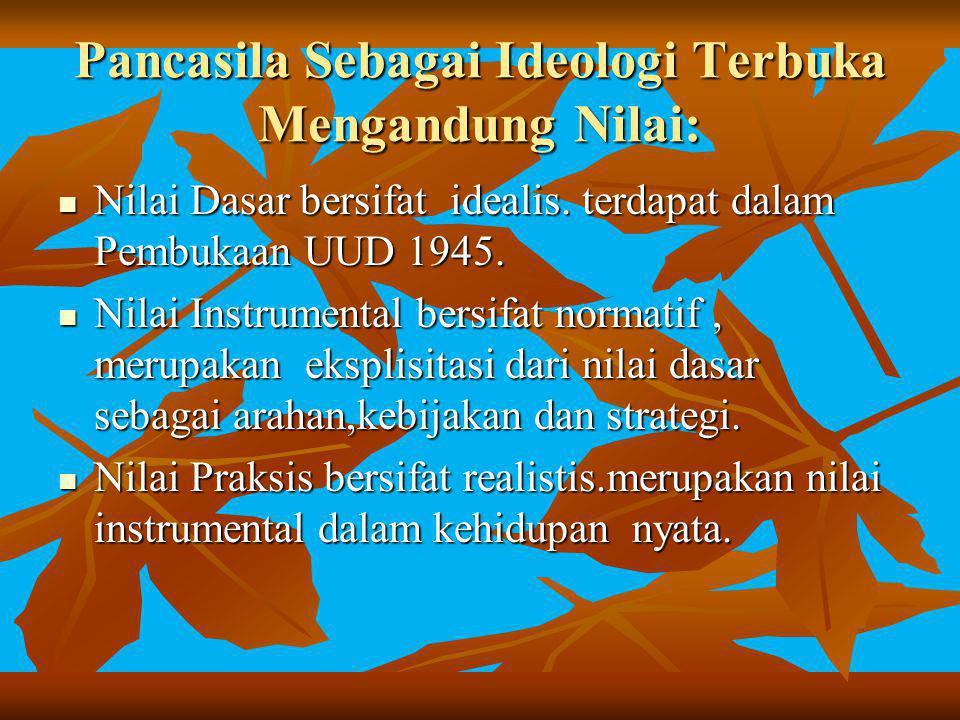 Pancasila Sebagai Ideologi Terbuka Mengandung Nilai: