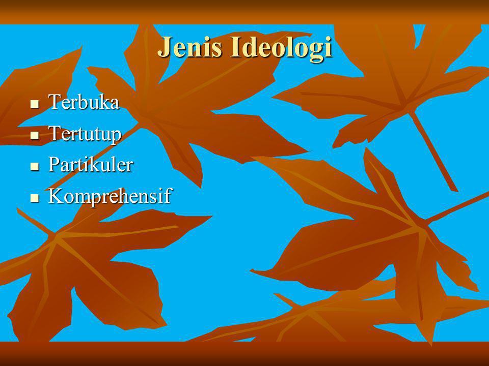 Jenis Ideologi Terbuka Tertutup Partikuler Komprehensif
