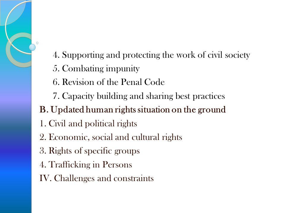 4. Supporting and protecting the work of civil society