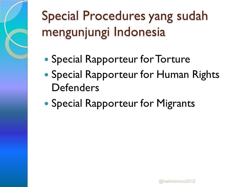 Special Procedures yang sudah mengunjungi Indonesia