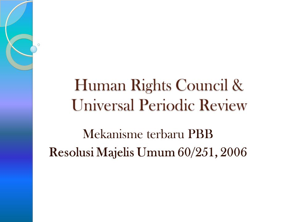 Human Rights Council & Universal Periodic Review