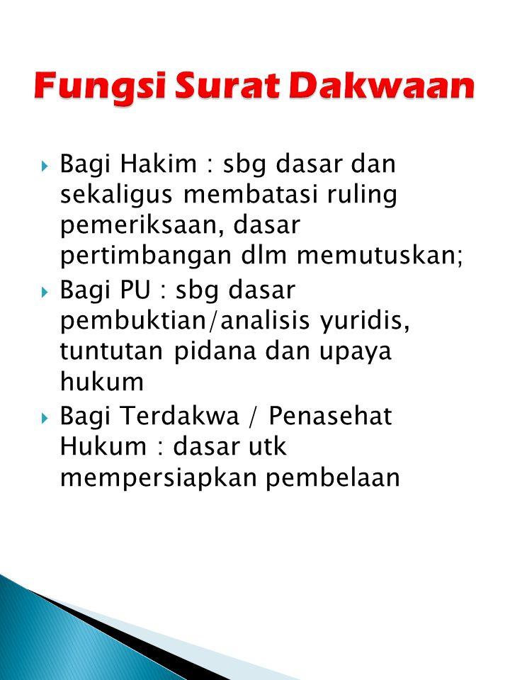 Fungsi Surat Dakwaan Bagi Hakim : sbg dasar dan sekaligus membatasi ruling pemeriksaan, dasar pertimbangan dlm memutuskan;