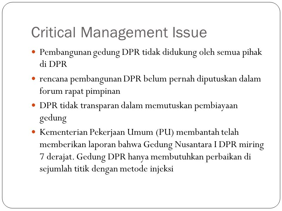 Critical Management Issue