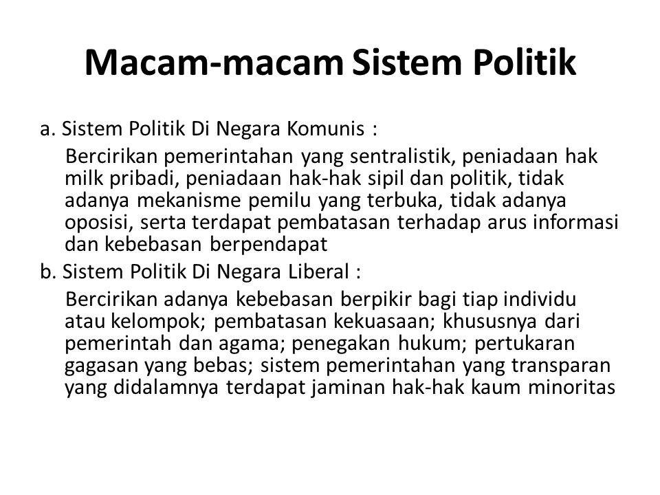 Macam-macam Sistem Politik