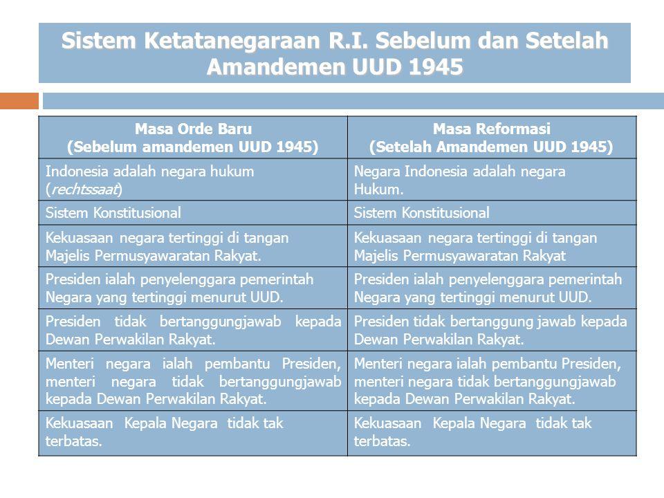 Sistem Ketatanegaraan R.I. Sebelum dan Setelah Amandemen UUD 1945