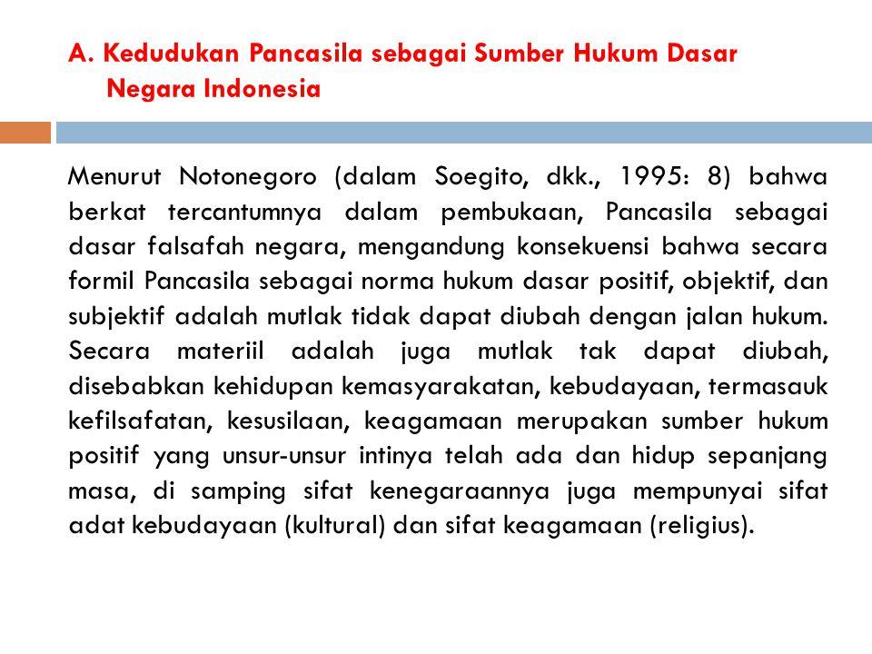 A. Kedudukan Pancasila sebagai Sumber Hukum Dasar Negara Indonesia