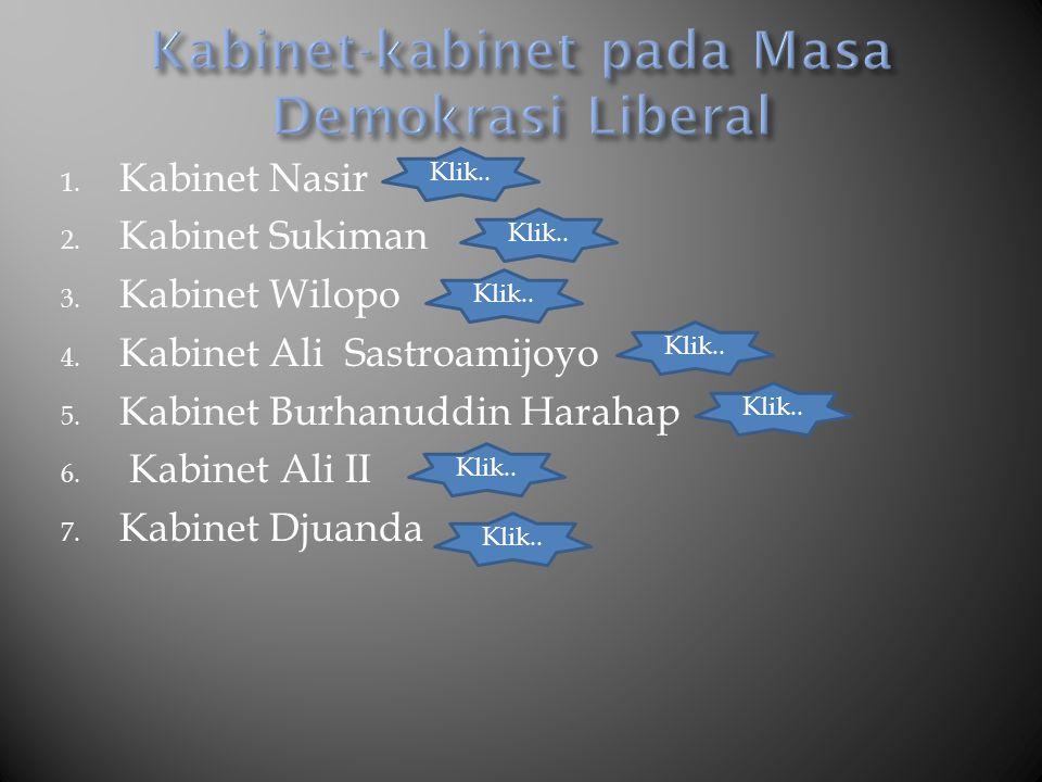 Kabinet-kabinet pada Masa Demokrasi Liberal