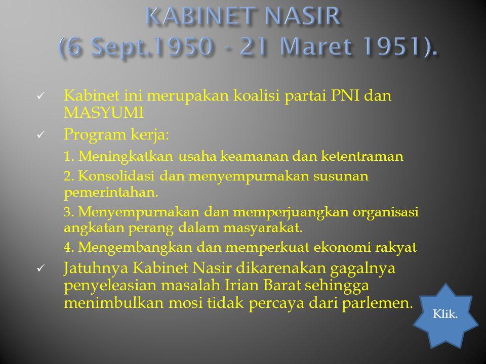 KABINET NASIR (6 Sept.1950 - 21 Maret 1951).