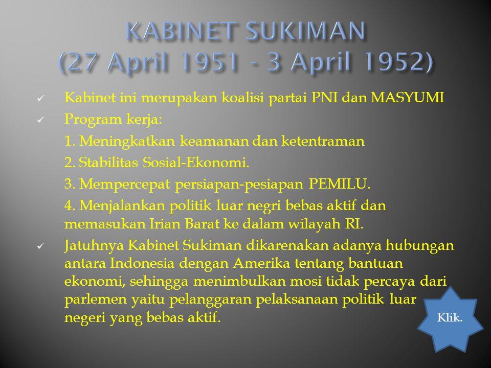 KABINET SUKIMAN (27 April 1951 - 3 April 1952)