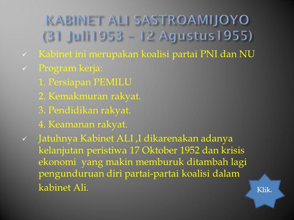 KABINET ALI SASTROAMIJOYO (31 Juli1953 – 12 Agustus1955)