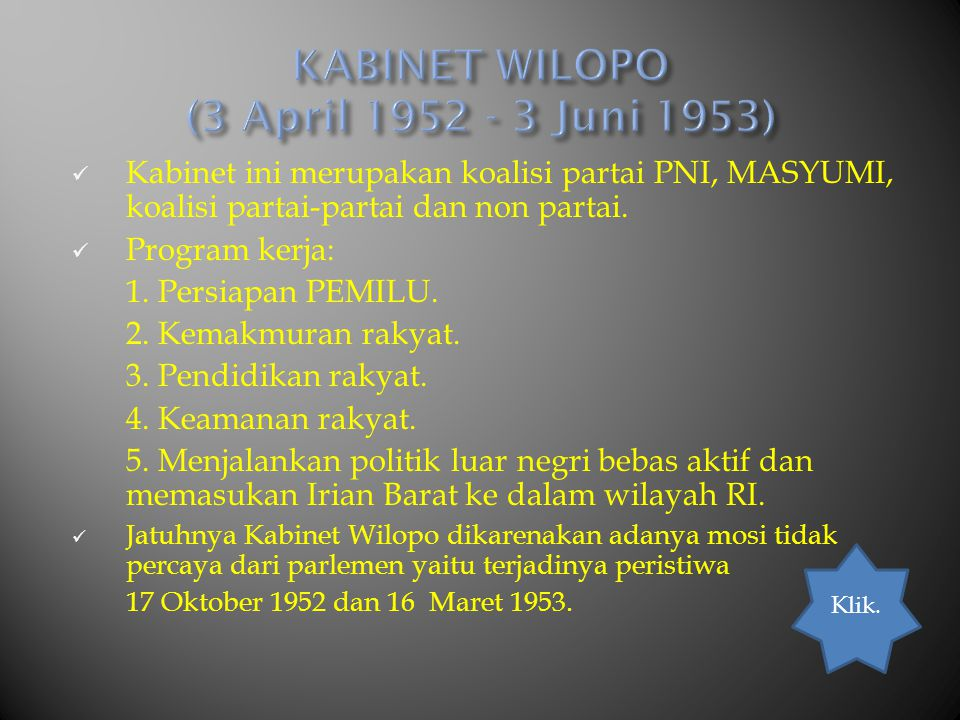 KABINET WILOPO (3 April 1952 - 3 Juni 1953)