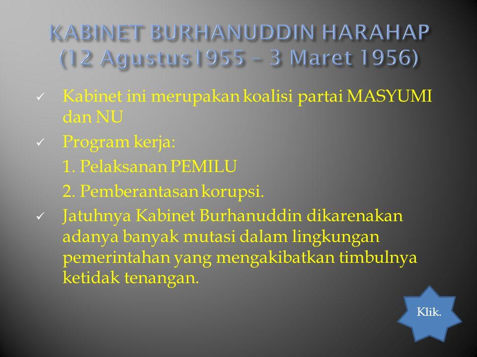 KABINET BURHANUDDIN HARAHAP (12 Agustus1955 – 3 Maret 1956)