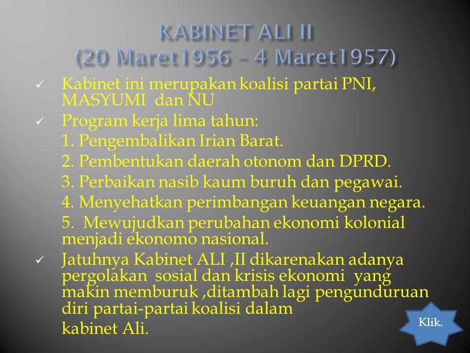 KABINET ALI II (20 Maret1956 – 4 Maret1957)